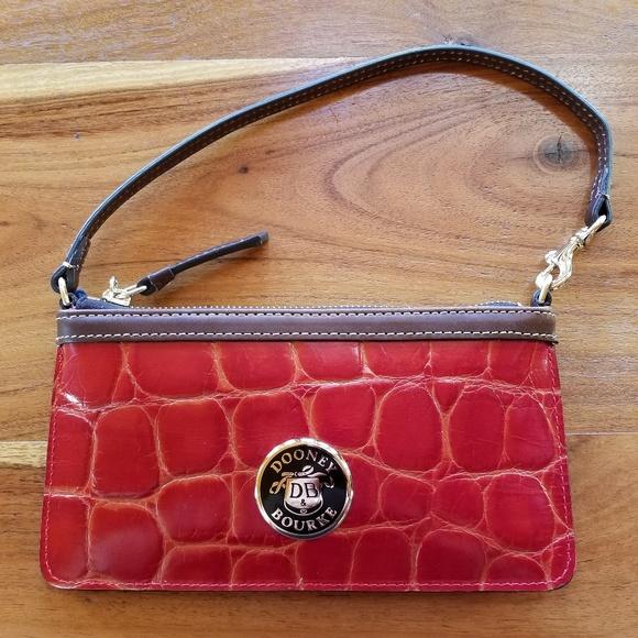 Dooney & Bourke Handbags - Dooney & Bourke Wristlet Red Embossed Croc Minibag